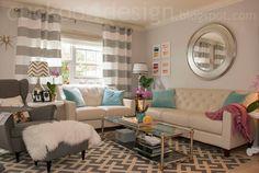 Living Room Ideas via RainonaTinRoof.com  Decor. Living Room. Turquoise. White. Grey. Curtains