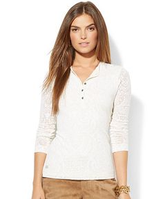 Lauren Jeans Co. Lace Henley Top