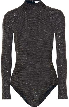 Black glittered stretch-jersey Zip fastening along back, snap fastenings at base polyester, spandex Dry clean Glitter Bodysuit, Black Bodysuit, Kpop Outfits, Cute Outfits, Fashion Outfits, Cute Bodysuits, Glitter Shorts, Crop Top Sweater, Women's Jackets