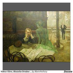 Le buveur d'absinthe, par le tchèque Viktor Oliva. L'absinthe, alcool fort contenant notamment de la menthe, est représentée sous la forme d'une tentatrice femme nue. Les ligues anti-alcooliques ciblent notamment cet alcool et parviennent à son interdiction en 1915.