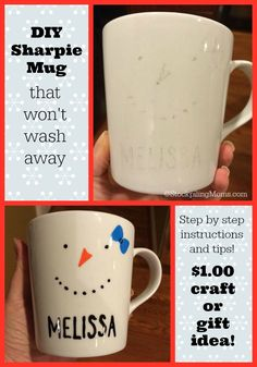 We are sure you have seen these Sharpie Mugs are all over Pinterest, but you may have heard that they are a Pinterest Fail too.   In fact my friend made them with regular sharpies and learned the hard way.  This step-by-step instructions not only shows you how to make them AND tips on which markers won't wash off! This is such a fun easy project and DIY gift idea! We hope you love it as much as we did!  Best of all you can make this project for around $1.00!