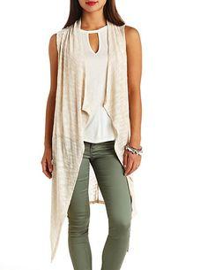 Long Slub Knit Asymmetrical Vest: Charlotte Russe