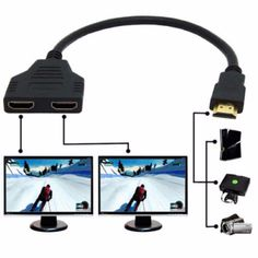 High quality! HDMI 1 Male To Dual HDMI 2 Female Y Splitter Cable Adapter in HDMI HD LED LCD TV