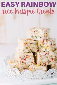 These Easy Rainbow Rice Krispie Treats are so fun to make! They have the perfect combination of Rice Krispies, Fruity Pebbles, and marshmallow. A fun Valentine's Day treat! #valentinesdayrecipes #valentinesday #ricekrispietreats Candy Recipes, Cookie Recipes, Dessert Recipes, Rice Krispie Treats, Rice Krispies, Chocolate Desserts, Chocolate Chip Cookies, Baked Bree Recipe, Rainbow Rice