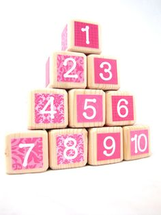 Wood Baby Blocks Baby Shower Decoration for Girls Wood by MiaBooo, $35.00