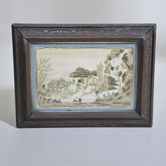 """19th century Silk work Picture of a rural Scene  Width: 12.5"""" / 31 cm Height: 9.5"""" / 24 cm"""