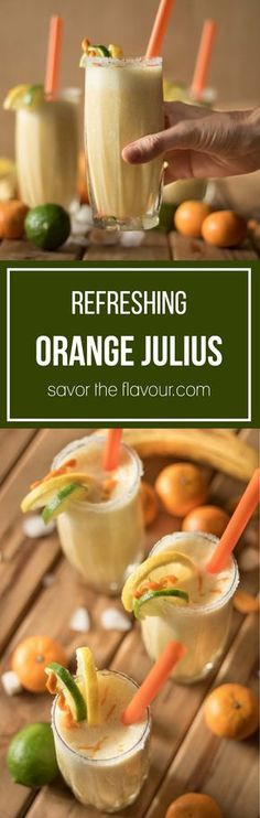This DIY recipe for Orange Julius is super easy to make at home. It's made with concentrated orange juice, banana, lime, and other delicious ingredients that can all be whipped up in your blender. This drink gives you more than your daily requirement of vitamin C, too! Get this refreshing recipe from Savor the Flavour.