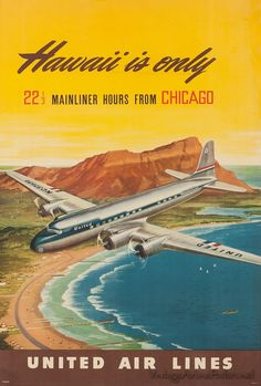 United Airlines vintage travel poster depicting an airplane flying over Hawaii.