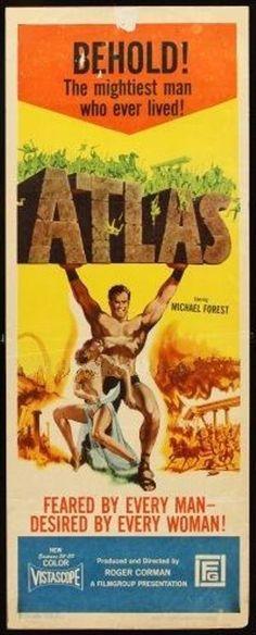 ATLAS - 1961 - original 14x36 INSERT movie poster - a ROGER CORMAN film Epic Movie, Film Movie, Movies, Roger Corman, Angie Dickinson, Warrior Women, Monster Mash, Gladiators, Movie Collection