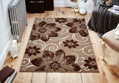 Modern hand carved floral designs make this Viva Rug an amazing centre piece for your rooms. #modernrugs #brownrugs #floralrugs #runners