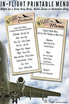 Free Printable In-Flight Menu Cards - Airline Party
