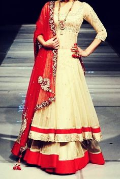 Double dressed Indian outfit with long tassel