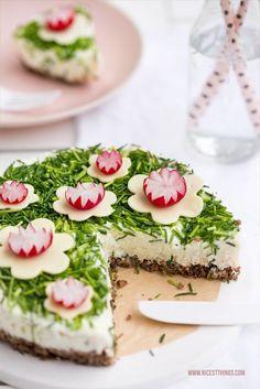 Herzhafter Cheesecake Frischkäse Torte salziger Käsekuchen Rezept