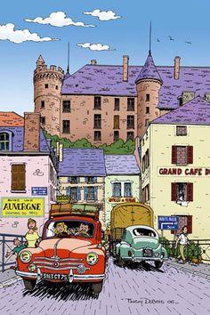 La Nationale 7 à Lapalisse (Allier). Dessin de Thierry Dubois Comic Book Artists, Comic Artist, Comic Books, Bd Art, Comics Illustration, Ligne Claire, Bd Comics, Car Posters, Car Drawings