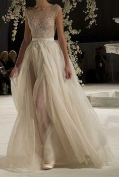 Gorgeous dress with sheer neckline, lace bodice and chiffon skirt
