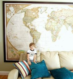 playroom decor - wall map