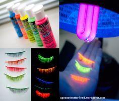 DIY black light false eyelashes