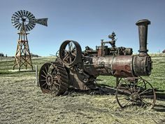 Molson Washington Ghost Town Steam Tractor And Wind Mill Photograph  - Molson Washington Ghost Town Steam Tractor And Wind Mill Fine Art Print