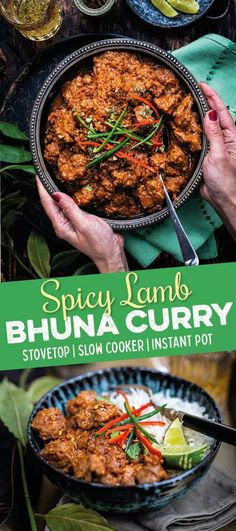 delicious Lamb Bhuna curry is easy to make on the stove, slow cooker or Instant Pot! Lamb Recipes, Spicy Recipes, Curry Recipes, Meat Recipes, Indian Food Recipes, Cooking Recipes, Recipies, Lobster Recipes, Vegetarian Recipes
