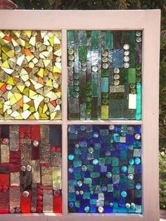 Painted Glass Art Old Windows Mosaic Crafts, Mosaic Projects, Stained Glass Projects, Stained Glass Art, Stained Glass Windows, Mosaic Art, Mosaic Glass, Mosaic Ideas, Diy Projects