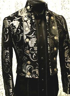 BAVARIA JACKET - SILVER/BLACK TAPESTRY by Shrine Clothing Goth Steampunk Mens Jackets