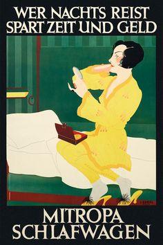 Poster Mitropa Schlafwagen, 1928 | Lucian Zabel (Deutsches Plakat Museum)