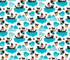 © Little Smilemakers Studio - Maaike Boot You are welcome to use our fabric for commercial usage, however, please credit Little Smilemakers Studio. Check our website for all license info, rates and terms.  Super fun vikings and battle ship water theme boys print. Viking men with large orange beards and scandinavian mountain tops. Fun print for your fashion and home textiles and baby nursery.