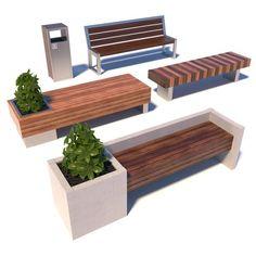 street modern benches 3d model max obj fbx 1
