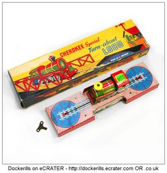 Cherokee Turn-About Loco (1 of 4). Vintage Tin Litho Tin Plate Toy. Wind-Up / Clockwork Mechanism.
