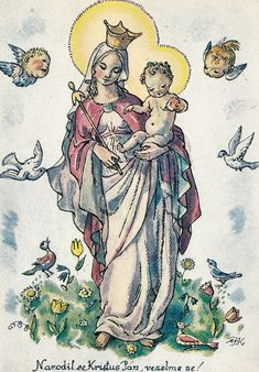 Old Czech Christmas Card Marie Fischerová Kvěchová Blessed Mother Mary, Madonna And Child, Children Images, Painting Patterns, Vintage Postcards, Vintage Art, Christmas Cards, Mandala, Drawings
