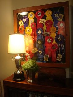 another great way to display horse show ribbons- shadow box with pictures of the special horses/ iconic images Trophy Display, Award Display, Display Medals, Equestrian Decor, Equestrian Style, Show Ribbon Display, Horse Show Ribbons, Ribbon Quilt, Show Cattle