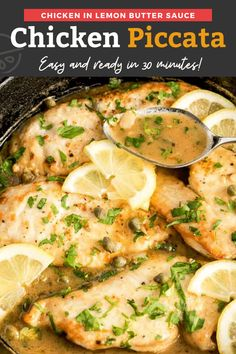 This impressive Chicken Piccata recipe is easy to make and ready in less than 30 minutes! Golden chicken cutlets are topped with a velvety lemon butter and caper sauce for the best easiest Italian dinner ever! Great for a weeknight meal and fancy enough for special ocassions. #Italian #chicken #easy #dinner Vegan Recipes Easy, Easy Dinner Recipes, Easy Meals, Clean Meals, Fast Dinners, Delicious Recipes, Chicken Piccata Easy, Chicken Cutlets, Baked Chicken Recipes