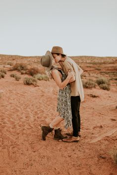 These destination engagement photos features stunning Arizona landscapes, trendy outfits, and so much newly-engaged love.