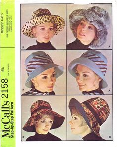 8854f5d4e7f 1960 s McCall s 2158 Womens Brimmed Hats Vintage by patternshop