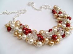 Winter Wedding Pearl Beaded Necklace Red and Ivory por KIMMSMITH