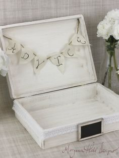 Rustic Wedding Card Box Advice For The Bride and Groom Trunk Keepsake Box With Banner (Item Number 130072)