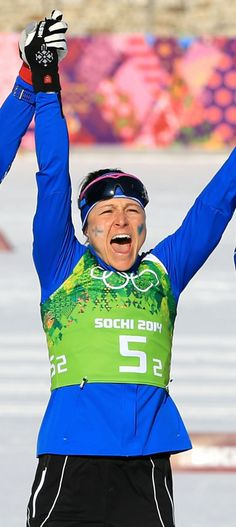 Aino-Kaisa Saarinen: b. 1979; Saarinen is a cross country skier from Finland.  She won a silver medal in Sochi for Ladies' Relay 4 x 5 Kilometer.