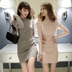 Fashion And Cheap New products for fall/winter women's slim long sleeve Han Fan Base skirt t elastic hip knit dresses skirts Products at Taobao Agent Yoybuy For Sale
