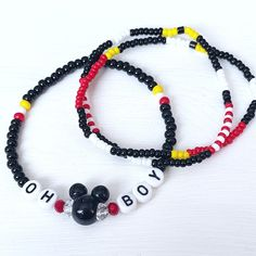 Oh Boy Mickey Mouse Individual Beaded Bracelet Stretch | Etsy