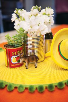 Cute tablescape- definitely need a little burro! Cinco de mayo inspiration. Vintage Fiesta First Birthday Party // Hostess with the Mostess®