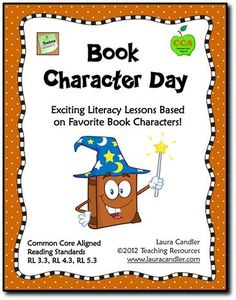 Book Character Day activities aligned with Common Core Reading Standards! Kids dress up like favorite book characters and participate in character trait analysis activities. Library Activities, Reading Resources, Reading Skills, Teaching Reading, Reading Activities, Character Activities, Reading Strategies, Teaching Tips, Teacher Resources