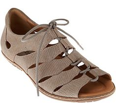 Earth Suede Ghillie Lace-up Sandals w/ Closed Heel - Plover