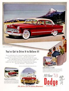 Dodge Coronet 1953 Red Drive To Believe - Mad Men Art: The 1891-1970 Vintage Advertisement Art Collection