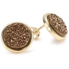 """Marcia Moran """"Chocolate"""" Bronze Druzy Small Round Shaped Stud Earrings found on Polyvore"""