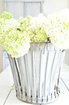 Hydrangeas in a zinc bucket. White decor, farmhouse, French, vintage, farm table, summer, country, antiques, flowers, spring