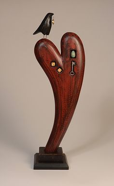 Raven on Curved Heart: Mark Orr: Wood Sculpture - Artful Home
