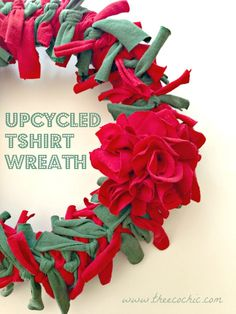 Upcycled Tshirt Wreath - looks christmassy - obviously could be made with any color.