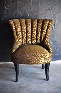 Classy Gold Silk and Velvet Seat Home or Office by TheBackSeat, $525.00