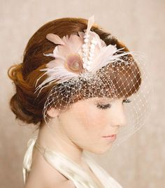 Ivory and Blush Pink Bridal Hair Piece, Hair Clip, Veil Clip, Feather Fascinator with Russian Veiling, Vintage Style Jewel - perfect for a bride,