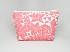 Pink Geometric Triangles and Lines Makeup Bag  Clutch by 162PENS, $20.00
